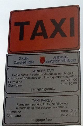 Taxi sign rome