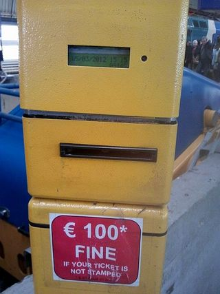 100 EUR fine sign for no ticket stamped