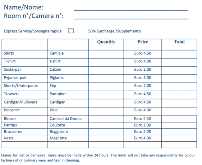 Italy hotel laundry price list
