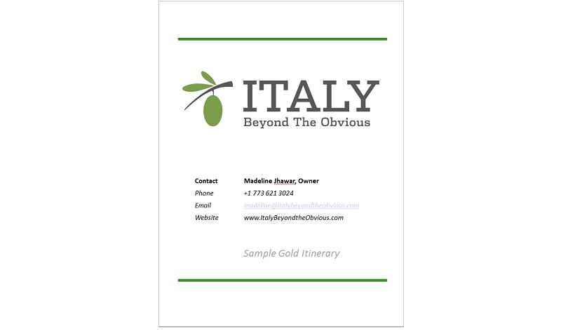 Gold sample itinerary Italy Beyond the Obvious