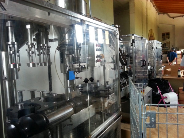 Wine tasting in Italy, Valpolicella, automated bottling machine